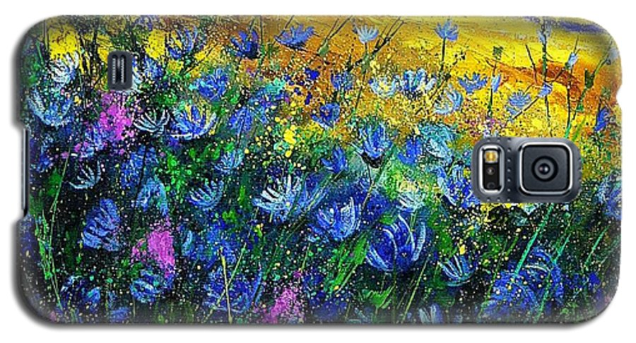 Flowers Galaxy S5 Case featuring the painting Blue Wild Chicorees by Pol Ledent