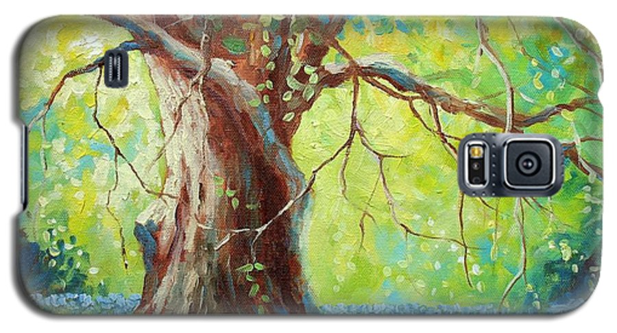 Bluebonnets Galaxy S5 Case featuring the painting Bluebonnets Under The Oak by David G Paul