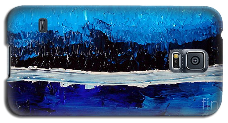Blue Galaxy S5 Case featuring the painting Blues by Holly Picano