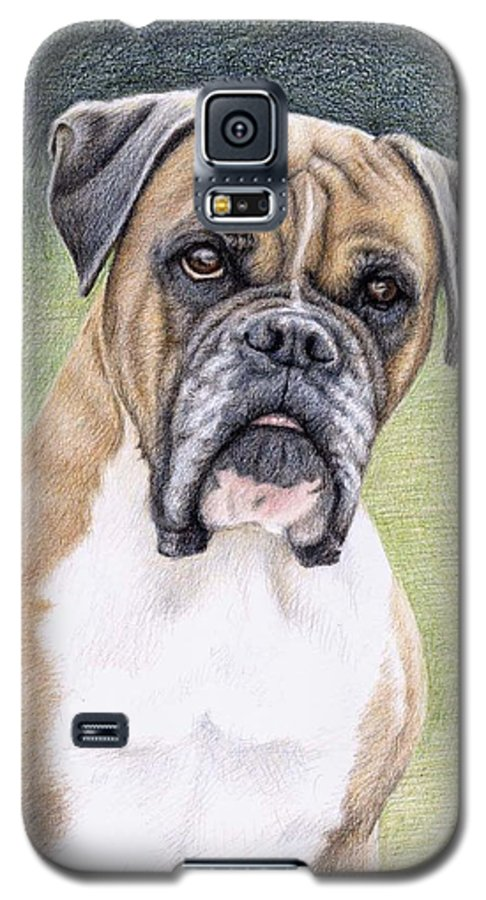 Dog Galaxy S5 Case featuring the drawing Boxer Portrait by Nicole Zeug