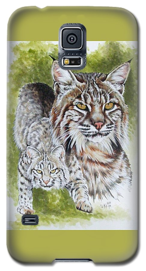 Small Cat Galaxy S5 Case featuring the mixed media Brassy by Barbara Keith
