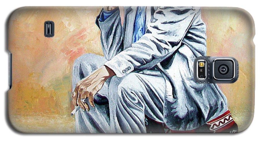 Figurative Galaxy S5 Case featuring the painting Break For Smoking - Apeadero Para Fumar by Rezzan Erguvan-Onal