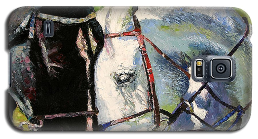 Horses Galaxy S5 Case featuring the painting Bridled Love by John Lautermilch