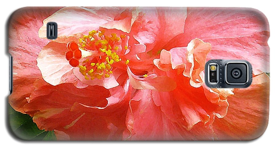 Hibiscus Galaxy S5 Case featuring the digital art Bright Pink Hibiscus by James Temple