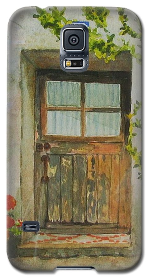 Door Galaxy S5 Case featuring the painting Brittany Door by Mary Ellen Mueller Legault