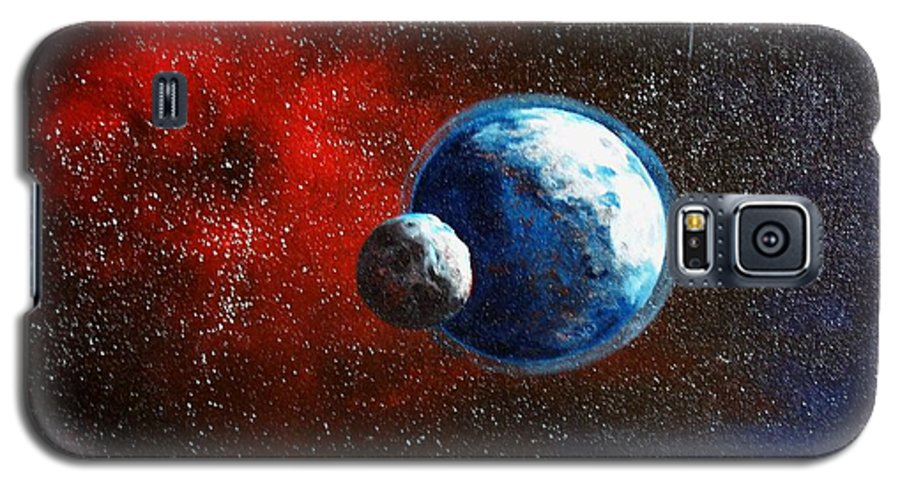 Astro Galaxy S5 Case featuring the painting Broken Moon by Murphy Elliott