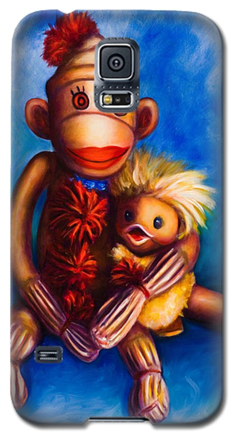 Sock Monkeys Brown Galaxy S5 Case featuring the painting Buddies by Shannon Grissom
