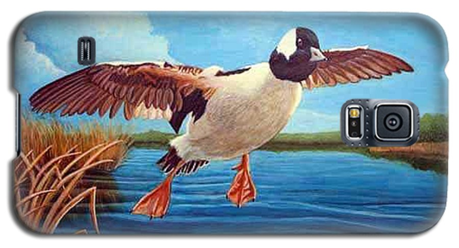 Rick Huotari Galaxy S5 Case featuring the painting Buffelhead Duck by Rick Huotari