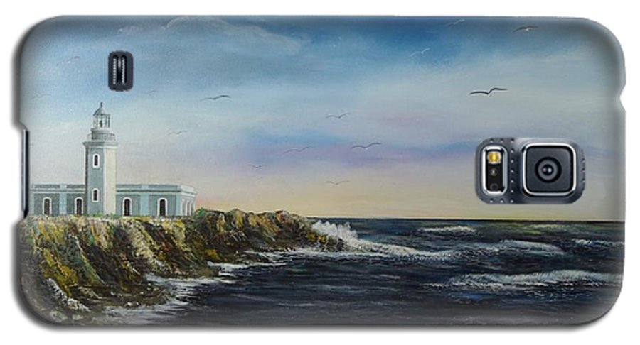 Cabo Rojo Lighthouse Galaxy S5 Case featuring the painting Cabo Rojo Lighthouse by Tony Rodriguez