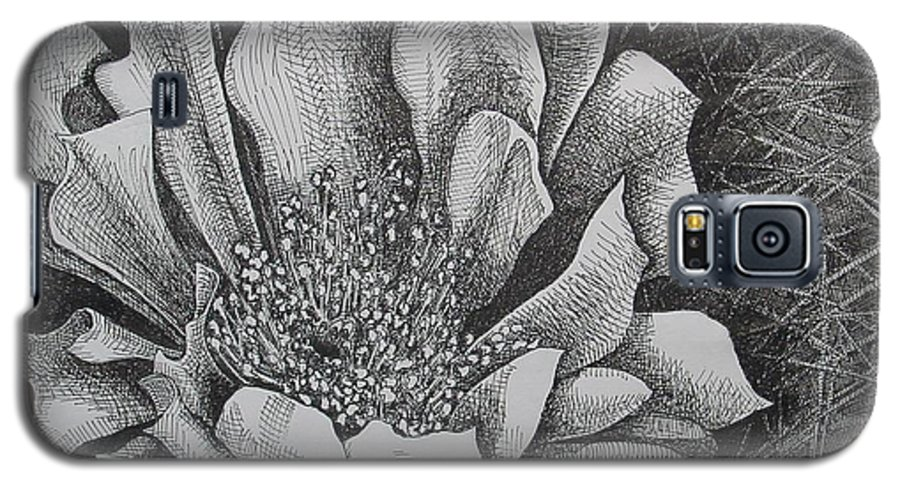 Flowers Galaxy S5 Case featuring the drawing Cactus Flower by Denis Gloudeman