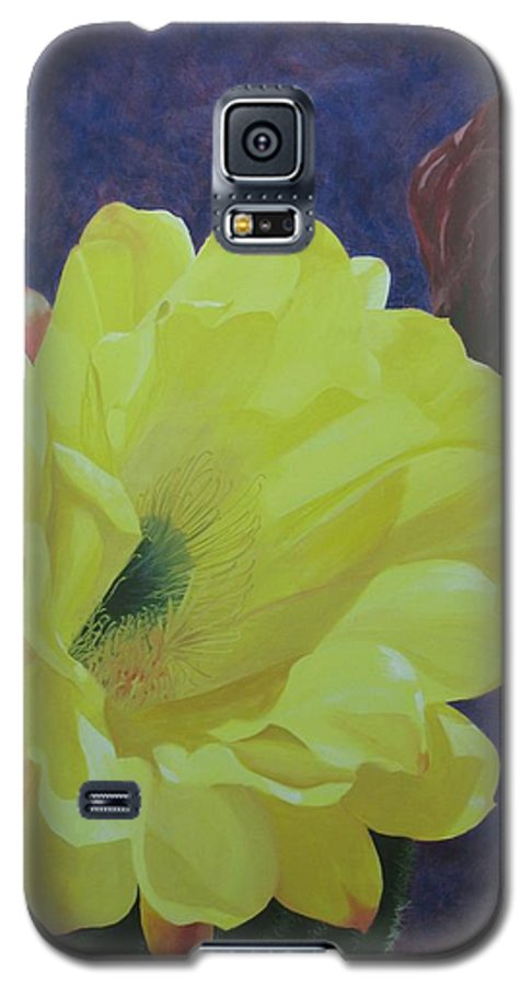 Argentine Cactus Bloom Galaxy S5 Case featuring the painting Cactus Morning by Janis Mock-Jones