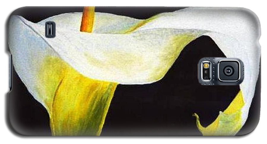 Close-up Galaxy S5 Case featuring the painting Calla Lily by Bruce Combs - REACH BEYOND
