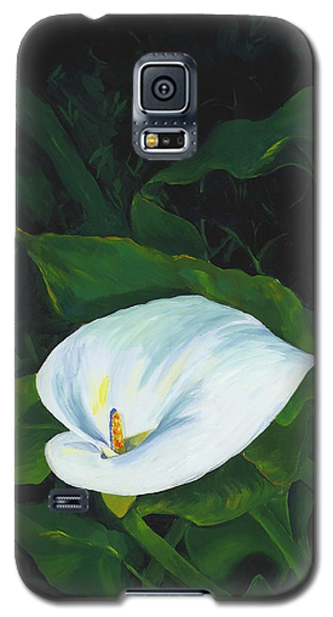 Calla Lily Galaxy S5 Case featuring the painting Calla Lily In The Garden Of Diego And Frida by Judy Swerlick
