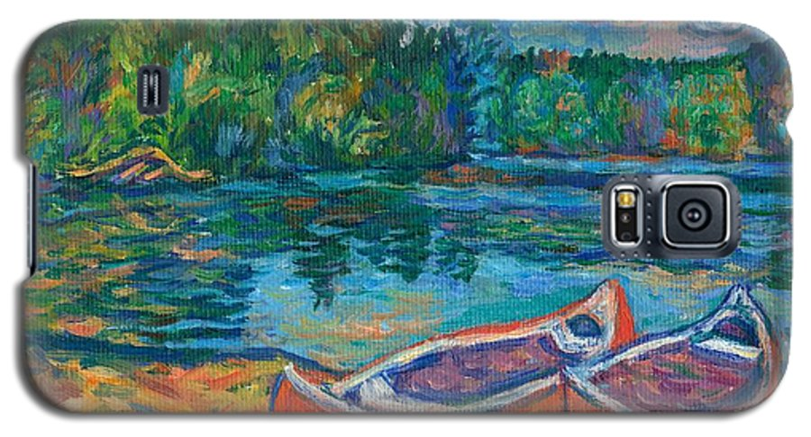 Landscape Galaxy S5 Case featuring the painting Canoes At Mountain Lake Sketch by Kendall Kessler