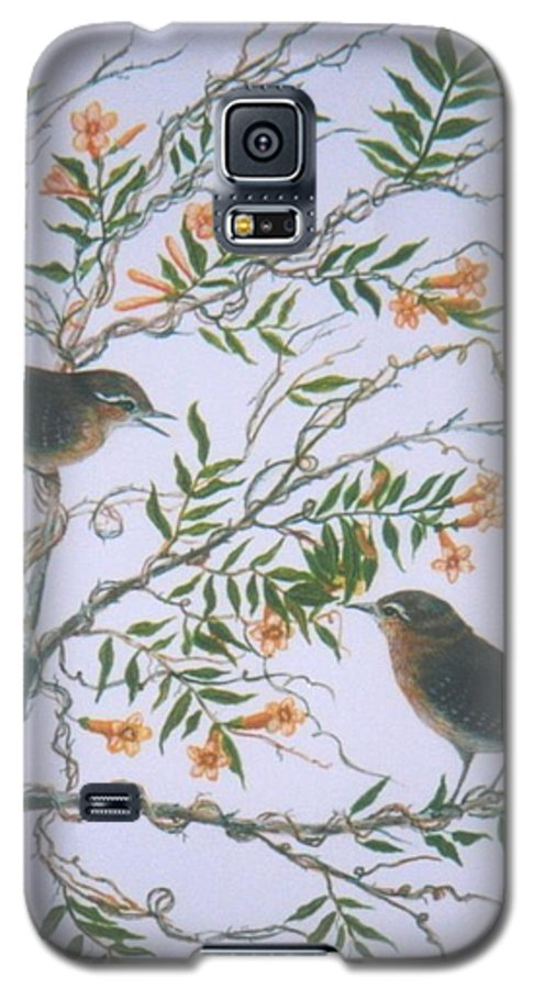 Bird; Flowers Galaxy S5 Case featuring the painting Carolina Wren And Jasmine by Ben Kiger