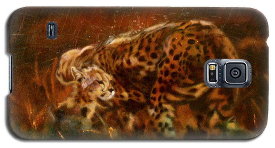 Rain;water;cats;africa;wildlife;animals;mother;shelter;brush;bush Galaxy S5 Case featuring the painting Cheetah Family After The Rains by Sean Connolly