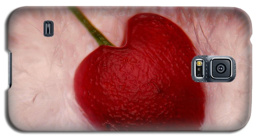 Heart Artred Cherry Heart Galaxy S5 Case featuring the photograph Cherry Heart by Linda Sannuti