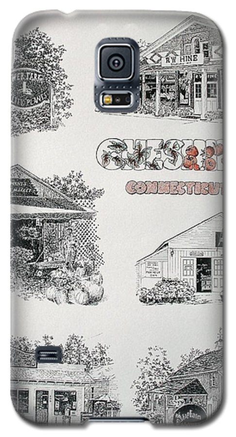 Connecticut Chechire Ct Architecture Buildings New England Galaxy S5 Case featuring the painting Cheshire Landmarks by Tony Ruggiero