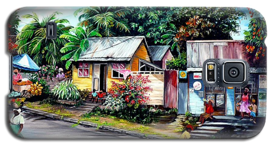 Landscape Painting Caribbean Painting Shop Trinidad Tobago Poinciana Painting Market Caribbean Market Painting Tropical Painting Galaxy S5 Case featuring the painting Chins Parlour   by Karin Dawn Kelshall- Best