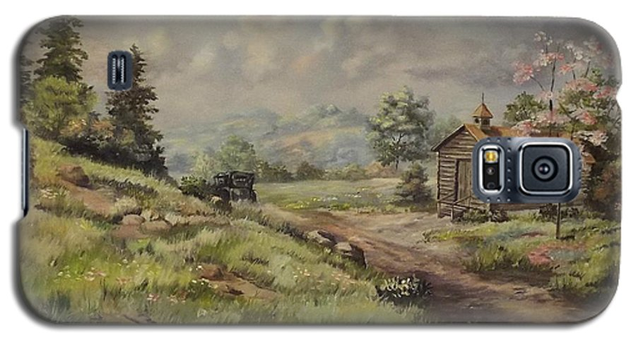 Landscape Galaxy S5 Case featuring the painting Church In The Ozarks by Wanda Dansereau