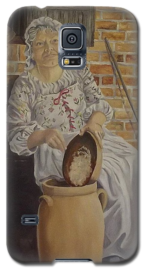 Historic Galaxy S5 Case featuring the painting Churning Butter by Wanda Dansereau