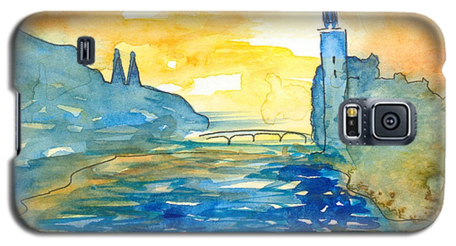 Landscape Galaxy S5 Case featuring the painting City Hall Stockholm by Christina Rahm Galanis
