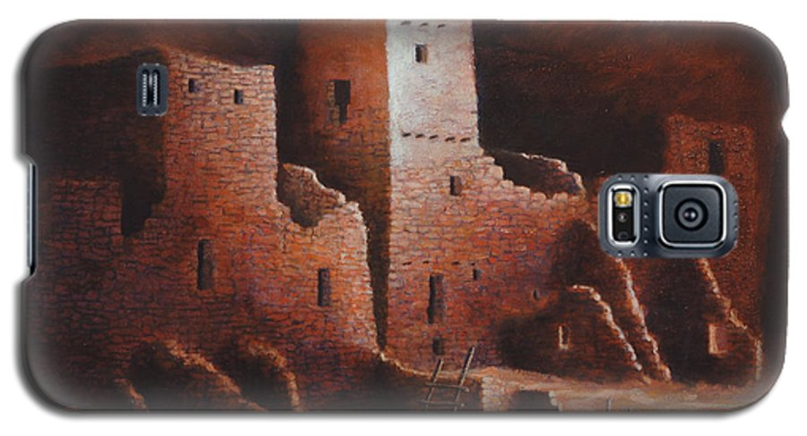 Anasazi Galaxy S5 Case featuring the painting Cliff Palace by Jerry McElroy