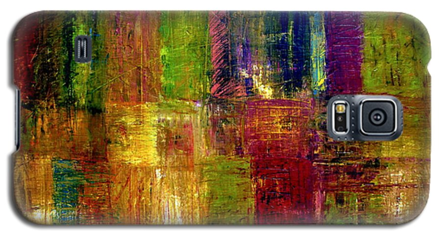 Abstract Galaxy S5 Case featuring the painting Color Panel Abstract by Michelle Calkins