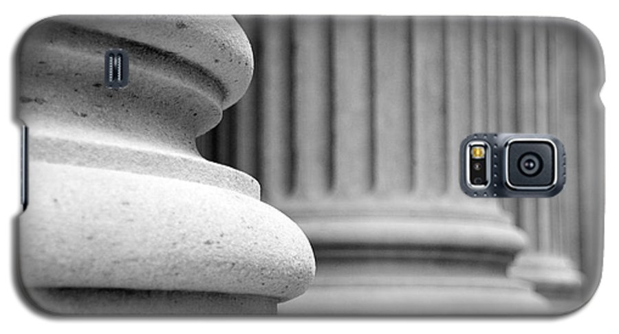 Black & White Galaxy S5 Case featuring the photograph Columns by Tony Cordoza
