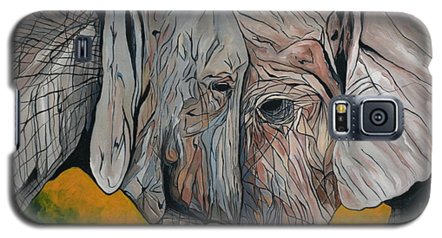 Elephant Galaxy S5 Case featuring the painting Comfort by Aimee Vance