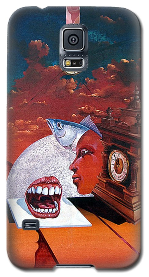 Otto+rapp Surrealism Surreal Fantasy Time Clocks Watch Consumption Galaxy S5 Case featuring the painting Consumption Of Time by Otto Rapp