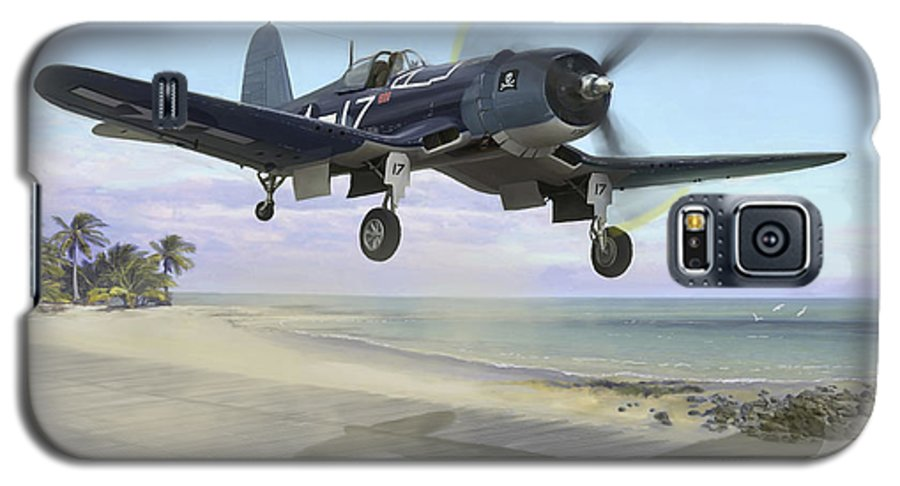 Airplane Galaxy S5 Case featuring the painting Corsair Takeoff Vf-17 Jolly Rogers by Mark Karvon