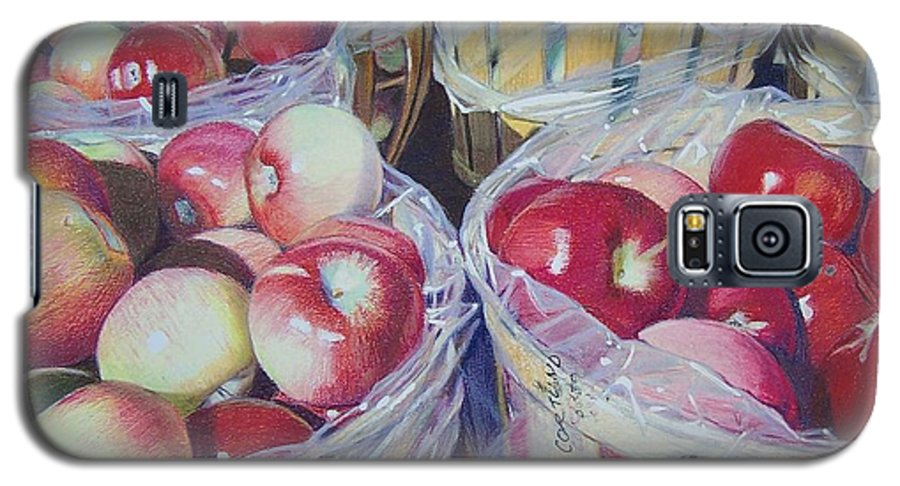 Apple Galaxy S5 Case featuring the mixed media Cortland Apples by Constance Drescher