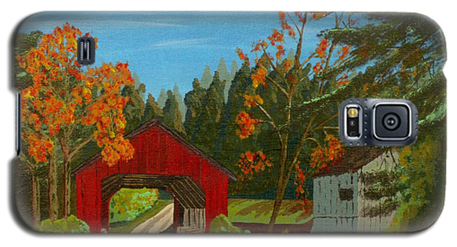 Path Galaxy S5 Case featuring the painting Covered Bridge by Anthony Dunphy