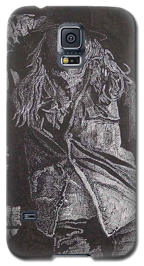 Figurative Galaxy S5 Case featuring the drawing Cowgirl by Denis Gloudeman