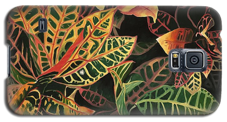 Croton Leaves Galaxy S5 Case featuring the painting Croton Leaves by Judy Swerlick