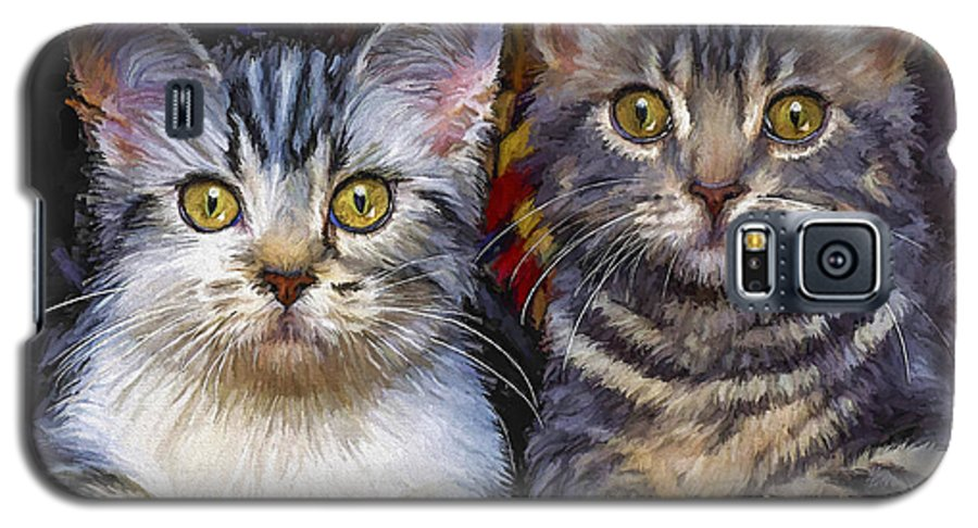 Cat Galaxy S5 Case featuring the painting Curious Kitties by David Wagner