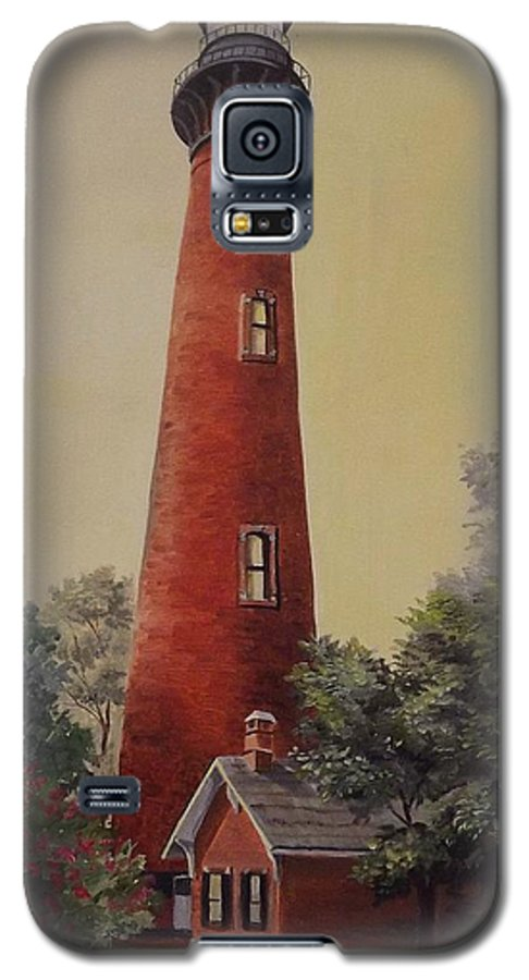 Lighthouse Galaxy S5 Case featuring the painting Currituck Lighthouse by Wanda Dansereau