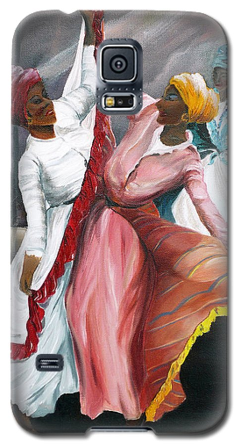 Dancers Folk Caribbean Women Painting Dance Painting Tropical Dance Painting Galaxy S5 Case featuring the painting Dance The Pique 2 by Karin Dawn Kelshall- Best