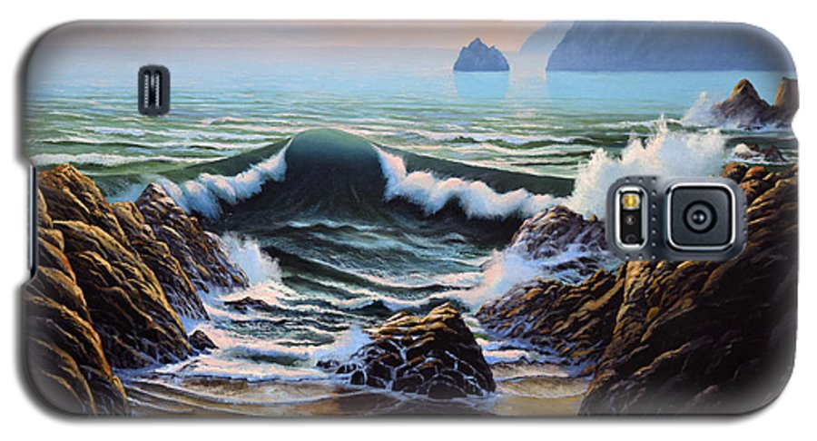Seascape Galaxy S5 Case featuring the painting Dancing Tide by Frank Wilson
