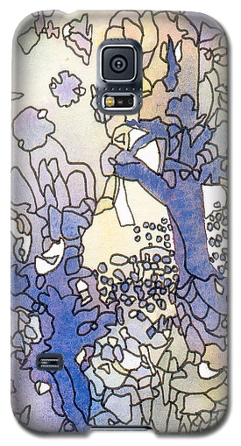 Abstract Galaxy S5 Case featuring the painting Dancing Trees II by Christina Rahm Galanis