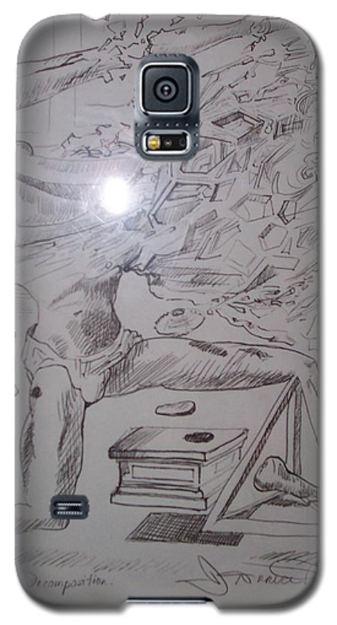 Galaxy S5 Case featuring the painting Decomposition Of Kneeling Man by Jude Darrien