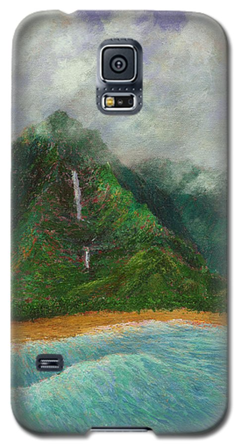 Coastal Decor Galaxy S5 Case featuring the painting Distant Falls by Kenneth Grzesik