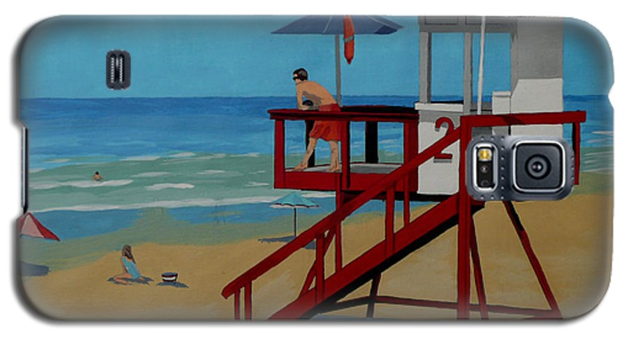 Lifeguard Galaxy S5 Case featuring the painting Distracted Lifeguard by Anthony Dunphy