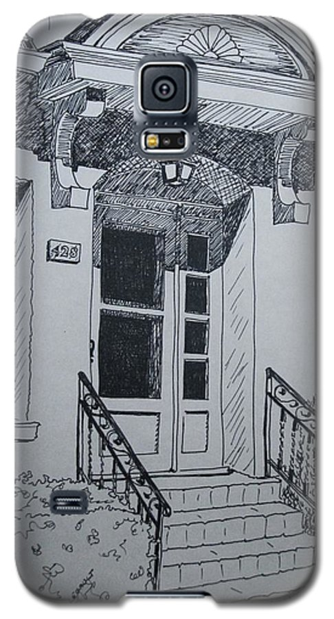 Pen And Ink Galaxy S5 Case featuring the drawing Doorway by Mary Ellen Mueller Legault