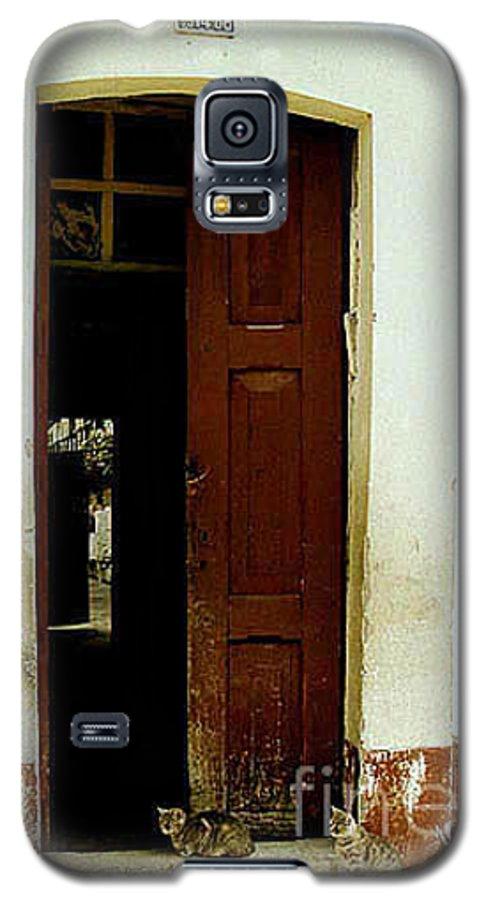 Cats Galaxy S5 Case featuring the photograph Dos Puertas Con Dos Gatos by Kathy McClure