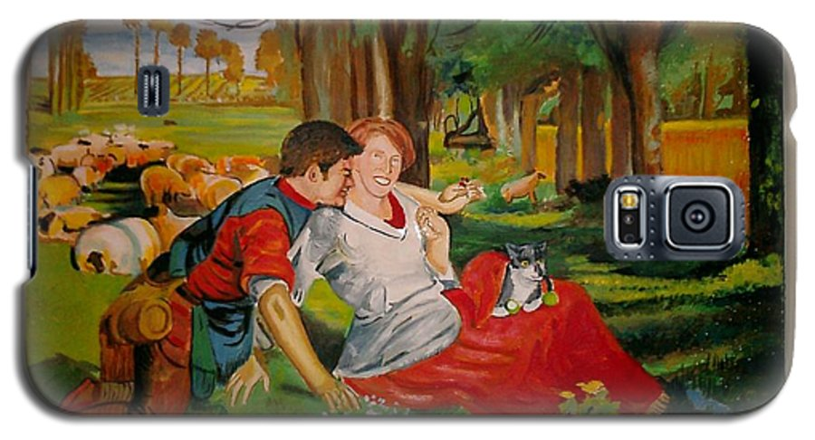 Galaxy S5 Case featuring the painting double portrait of freinds Gunner and Jessie by Jude Darrien