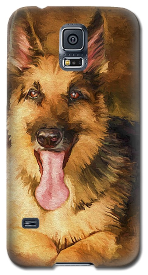 German Shepherd Galaxy S5 Case featuring the painting Duke by David Wagner