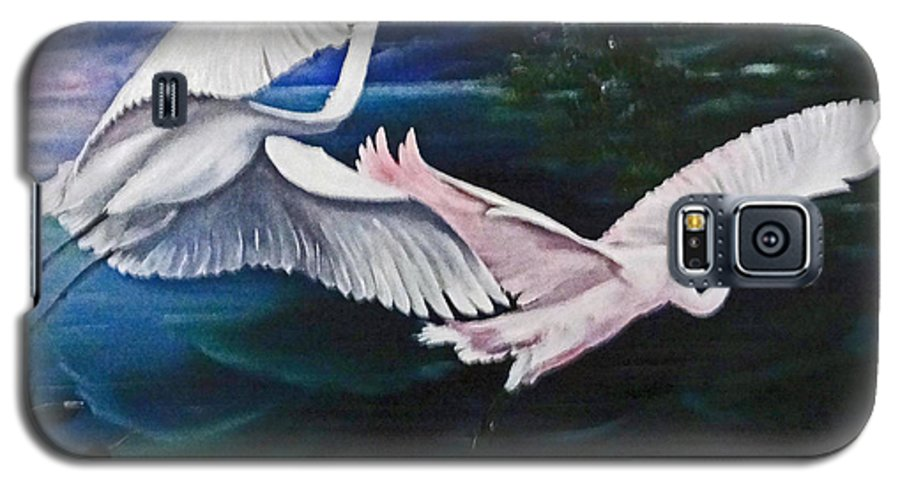Snowy Egrets Galaxy S5 Case featuring the painting Early Flight by Karin Dawn Kelshall- Best