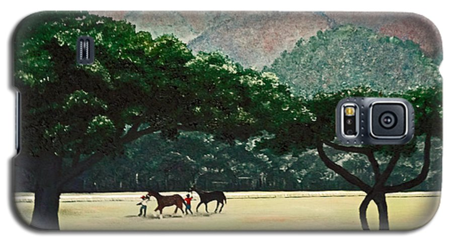 Trees Galaxy S5 Case featuring the painting Early Morning Savannah by Karin Dawn Kelshall- Best